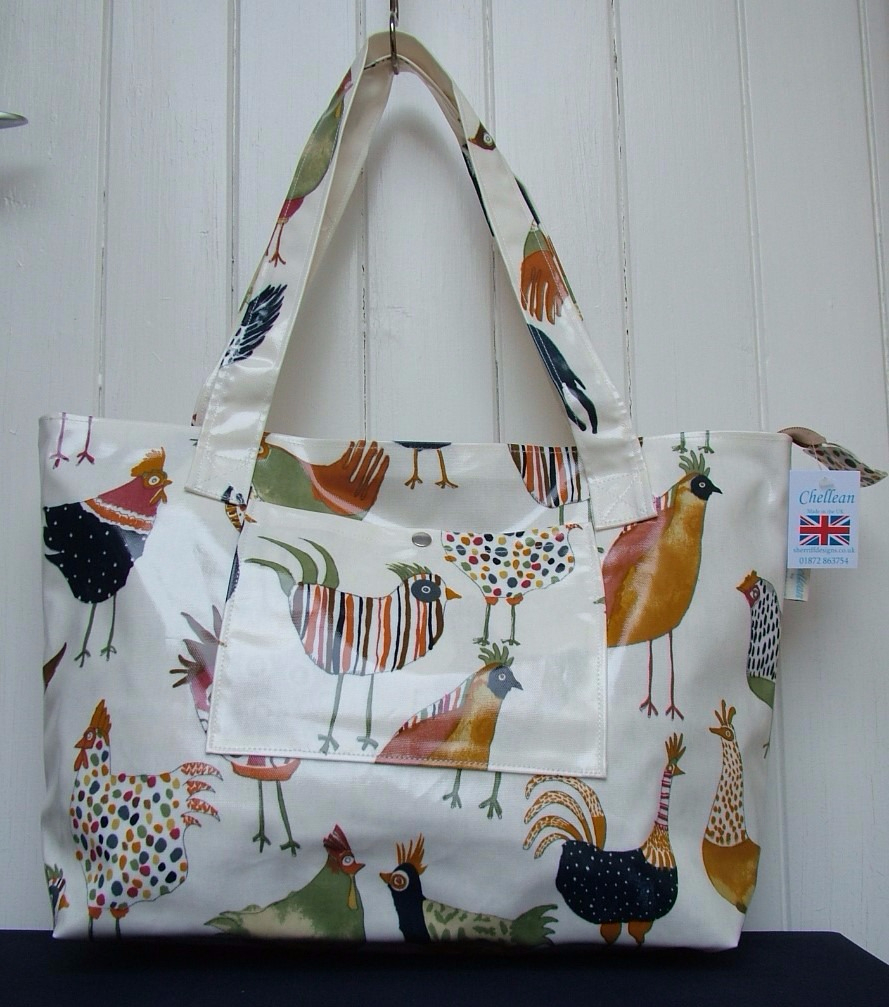 Hens Large Oilcloth Zipped Bag