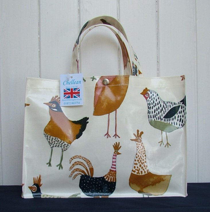 Hens Short Handle Oilcloth Box Bag
