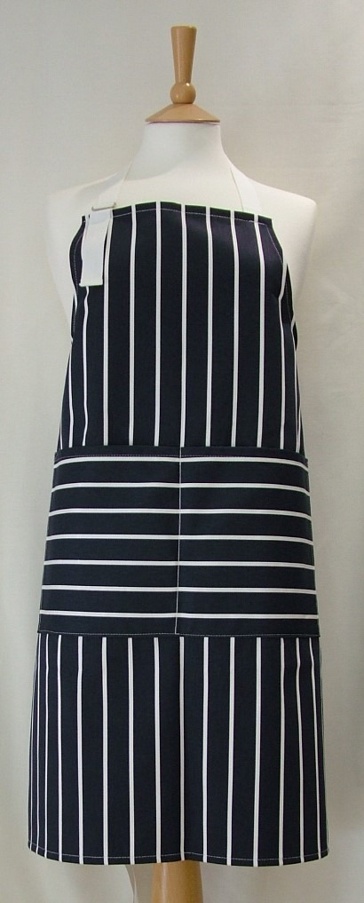 Navy and White Butcher's Stripe Adult Apron