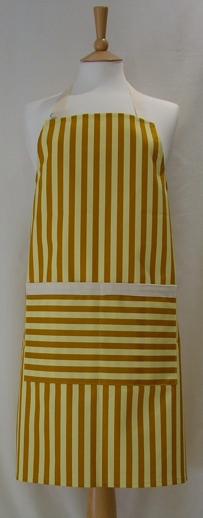 Mustard and Cream Stripe Adult Butcher's Apron