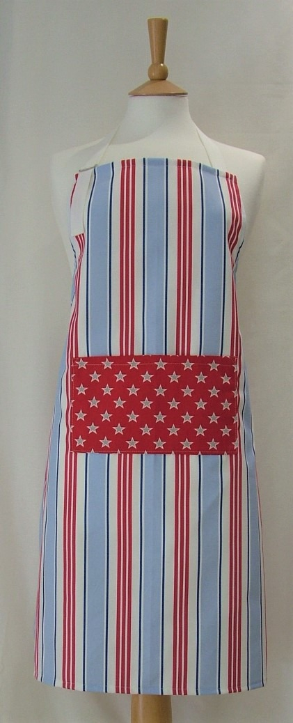 Red, White and Blue Stars and Stripes Adult Cotton Apron