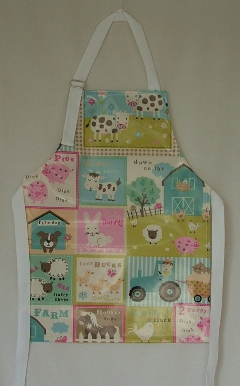 Fun Farm Child's Oilcloth Apron