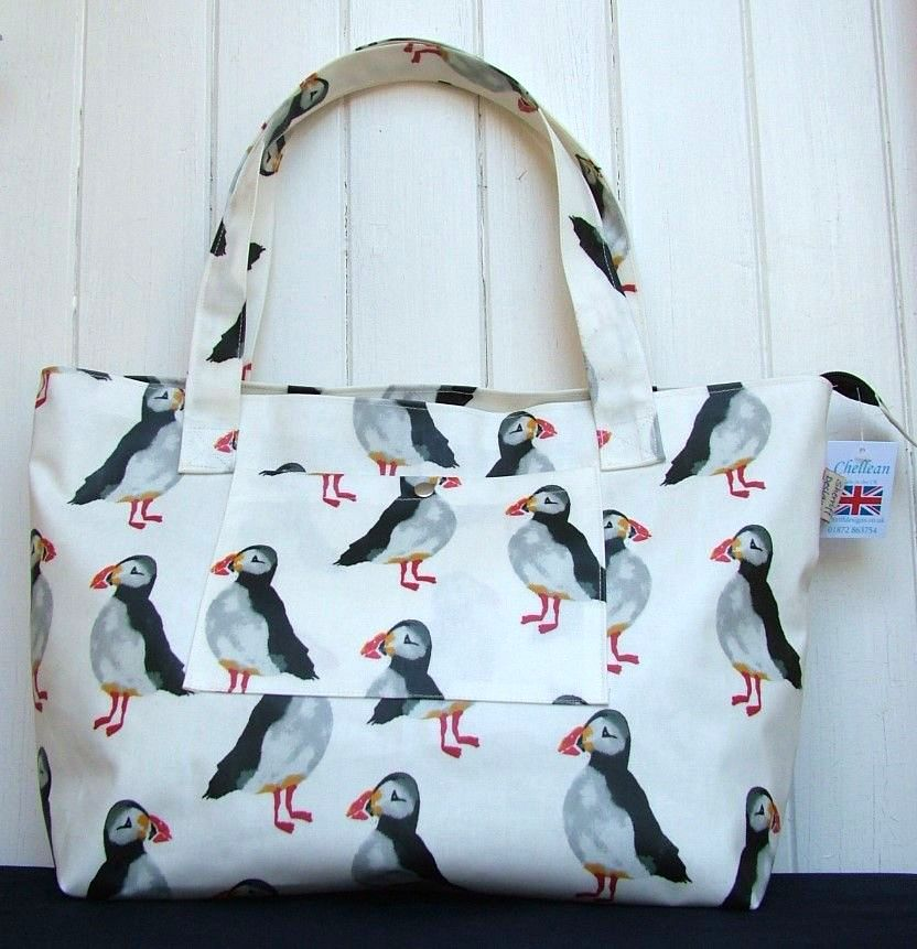 Puffins Large Oilcloth Zipped Bag
