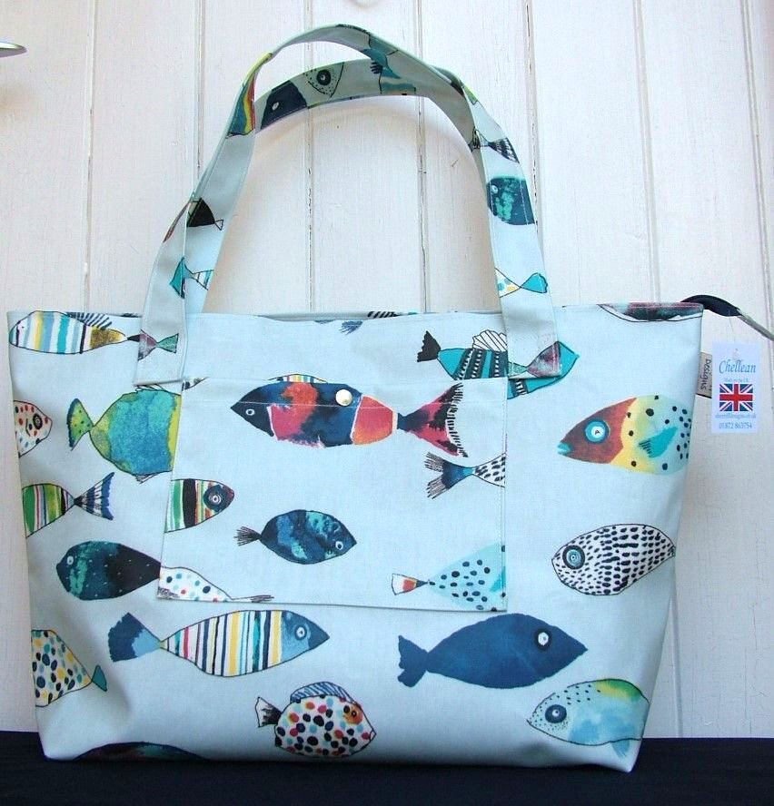 Gone Fishing Large Oilcloth Zipped Bag
