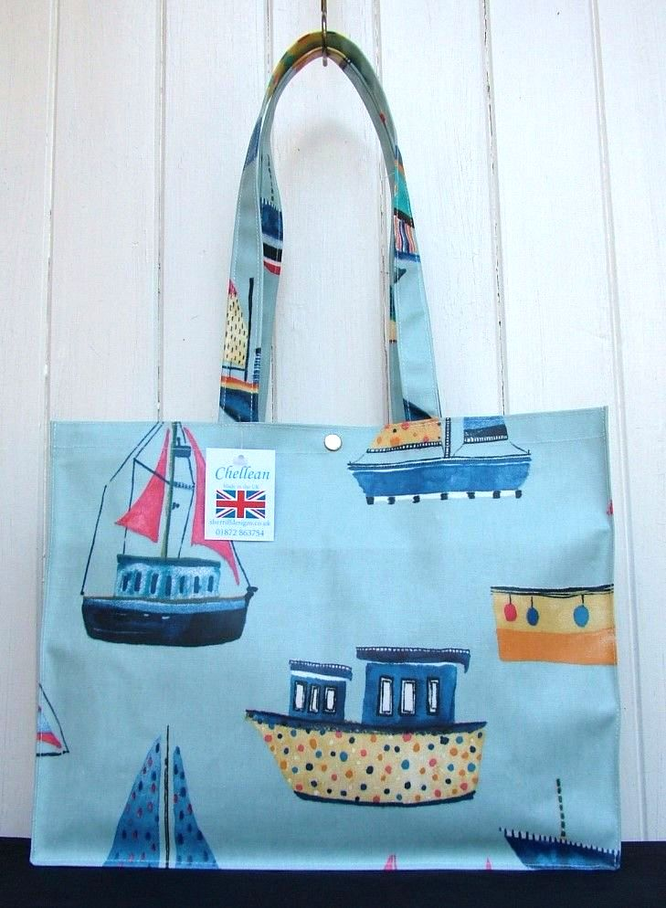 Boats Long Handle Oilcloth Gusset Bag