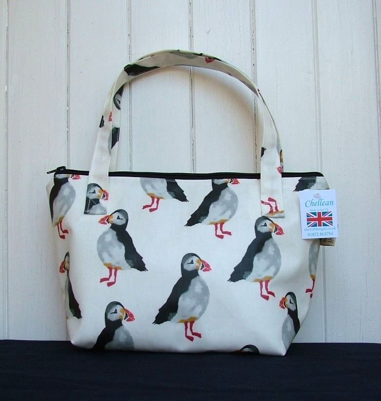 Puffins Small Zipped Oilcloth Bag