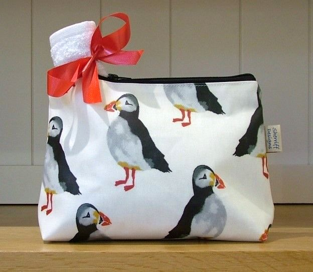 Puffins Oilcloth Wash Bag