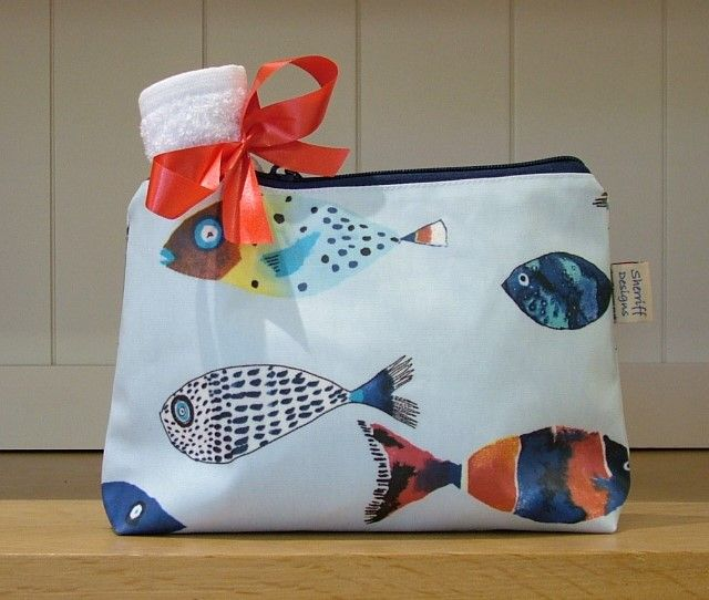 Gone Fishing Oilcloth Wash Bag