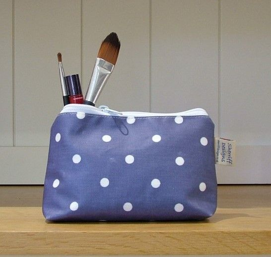 Blue and White Dotty Oilcloth Make-up Purse
