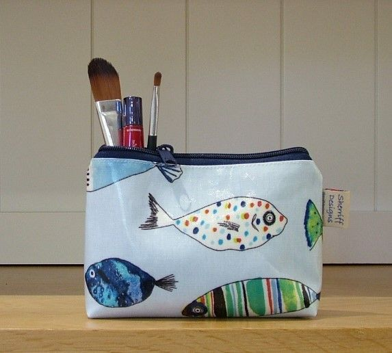 Gone Fishing Oilcloth Make-up Purse