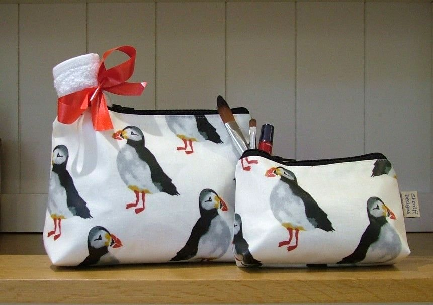 Puffins Birds Oilcloth Wash Bag and Make-up Purse Set