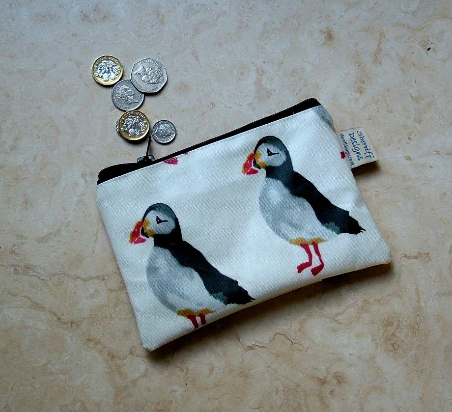 Puffins Birds Oilcloth Zipped Purse
