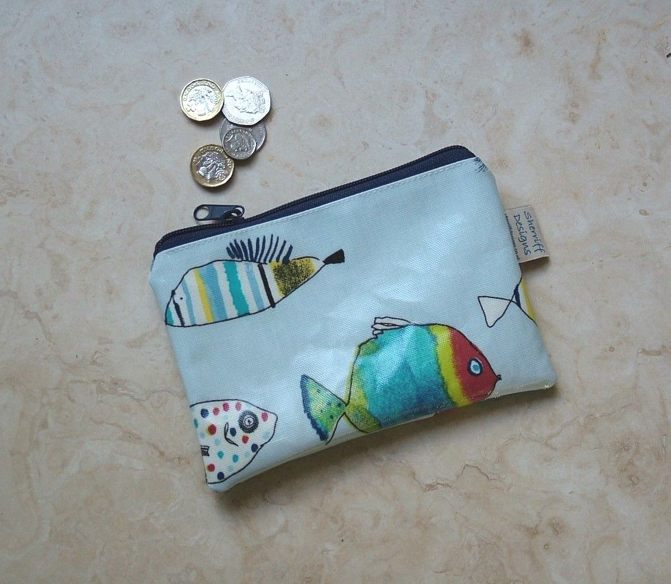 Gone Fishing Oilcloth Purse