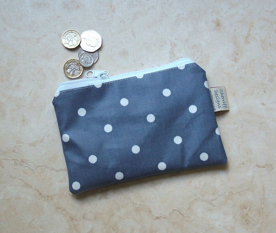 Blue/White Dotty Oilcloth Zipped Purse