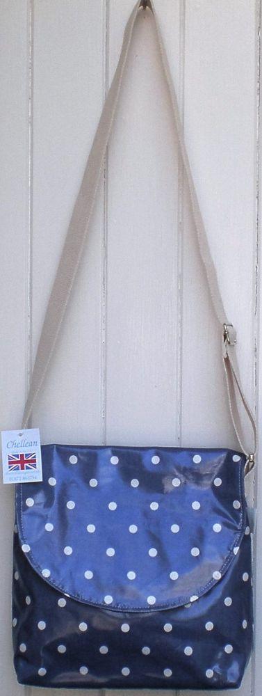 Blue/White Spot Oilcloth Across Body Bag