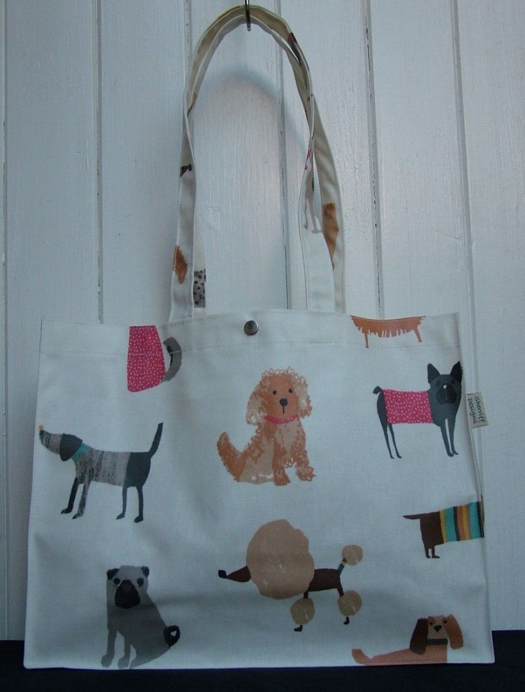 Dogs Long Handle Oilcloth Gusset Bag