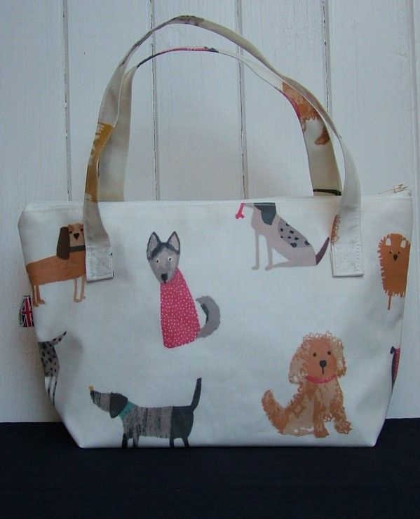 Dogs Small Zipped Oilcloth Bag