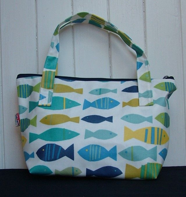 Fishes Small Zipped Oilcloth Bag