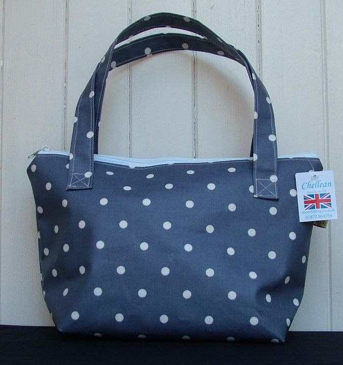 Blue and White Dotty Small Zipped Bag