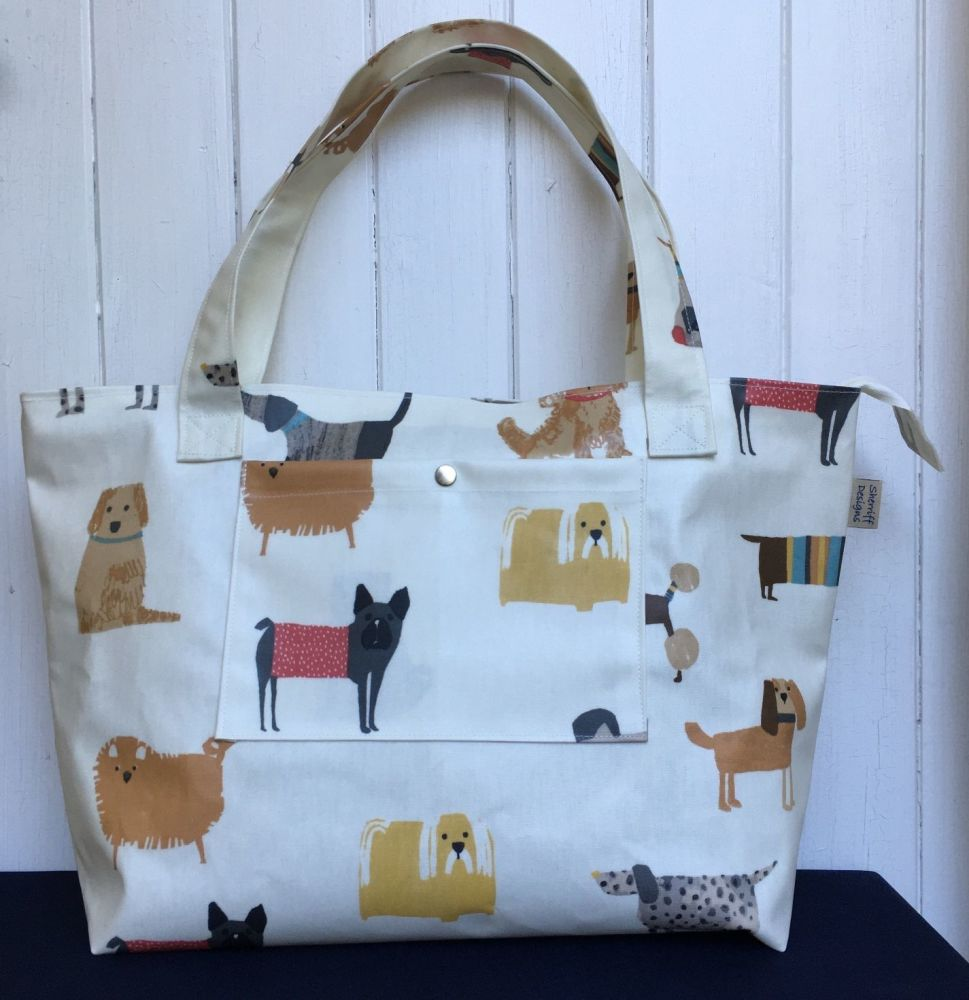 Dogs Large Oilcloth Zipped Bag