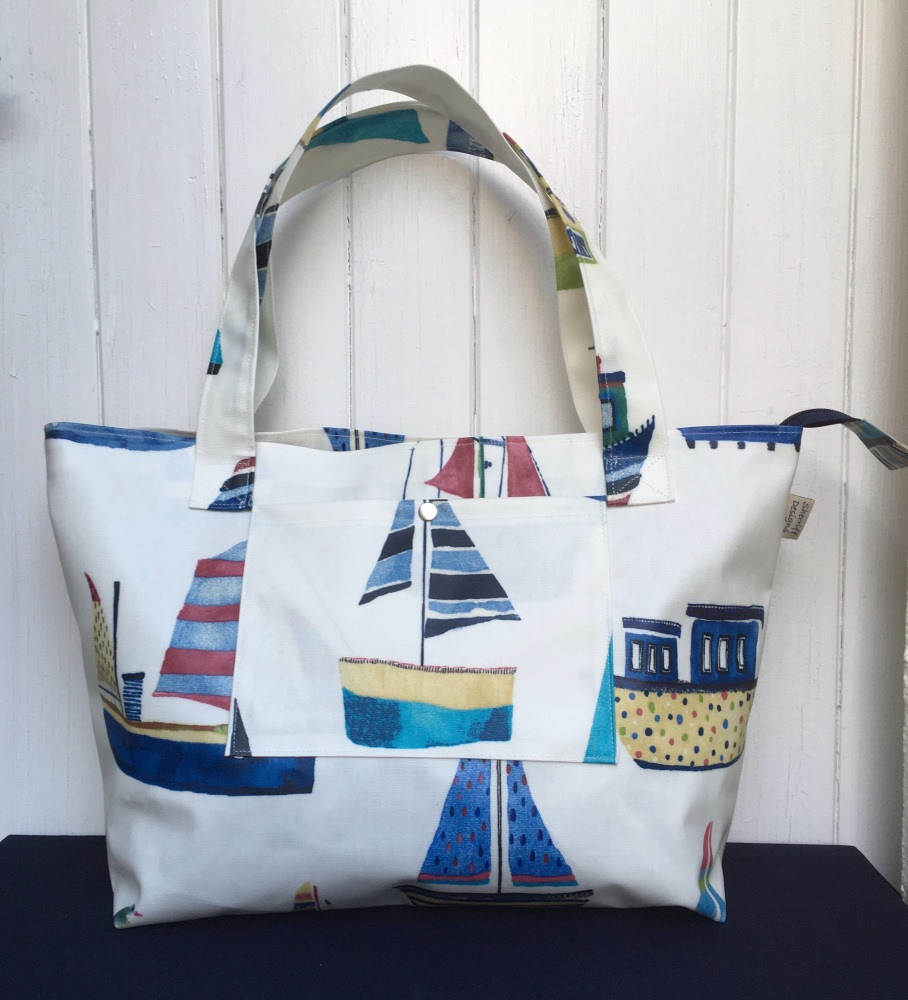 Boats Large Oilcloth Zipped Bag