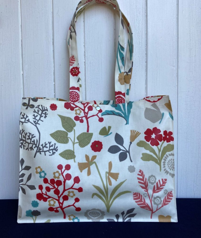 Floral Chic Oilcloth Long Handle Gusset Bag