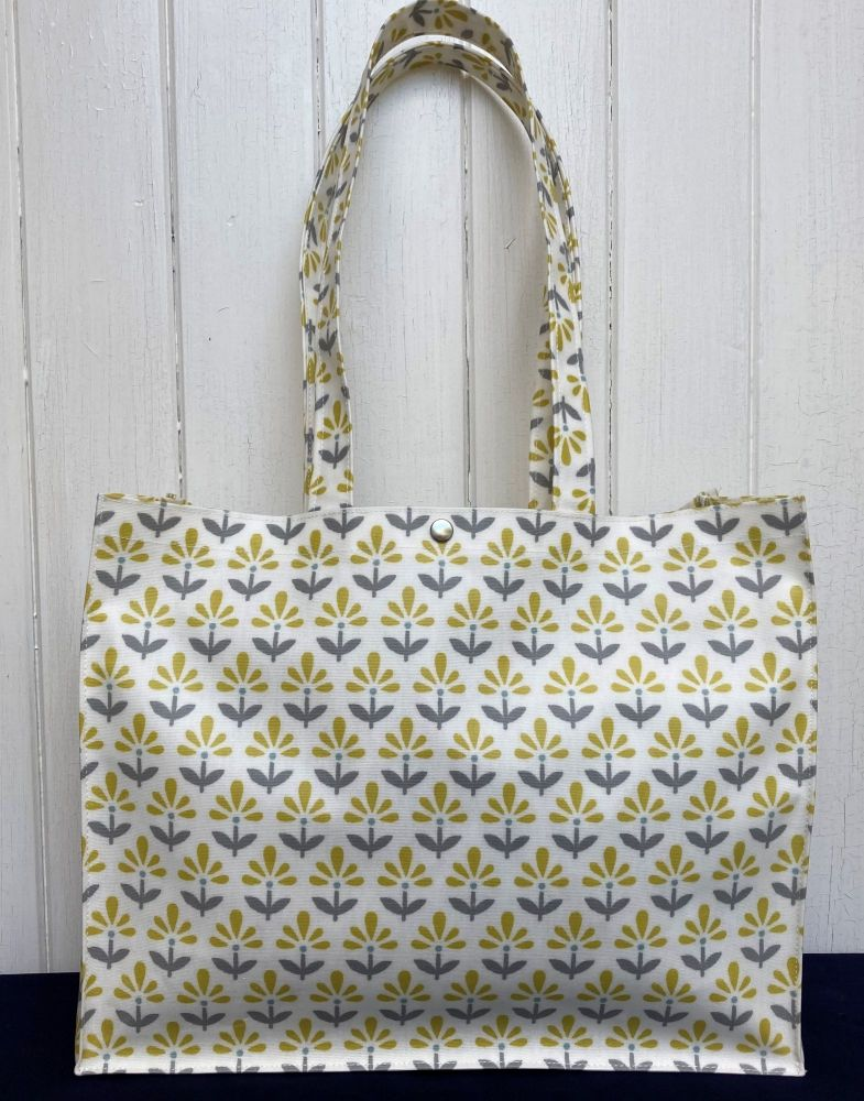 Fleur Long Handle Oilcloth Gusset Bag