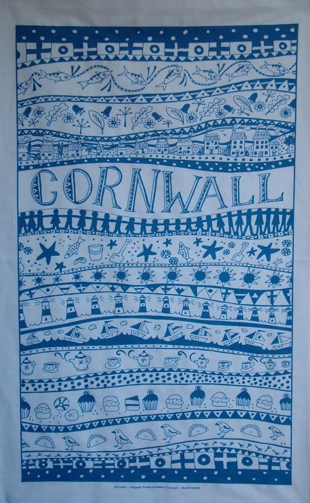 Cornwall Tea Towel - Blue