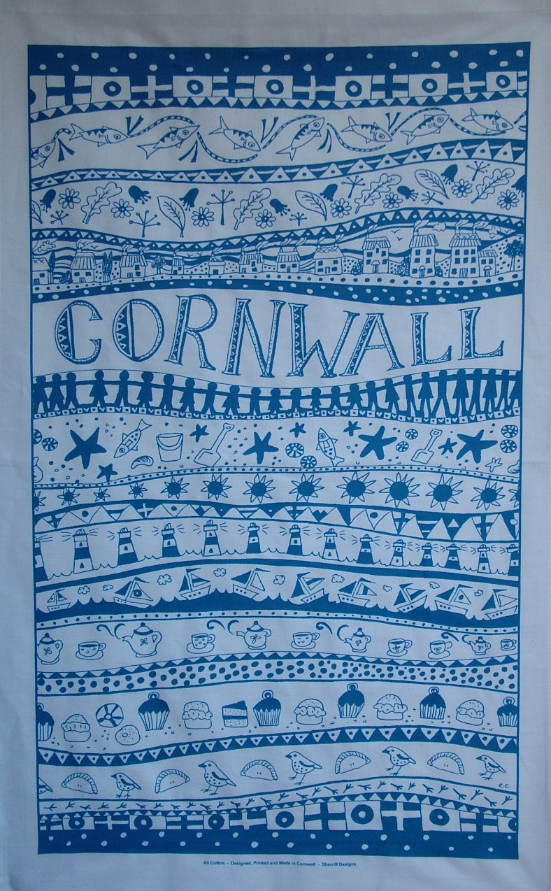 Cornwall Tea Towel - Blue