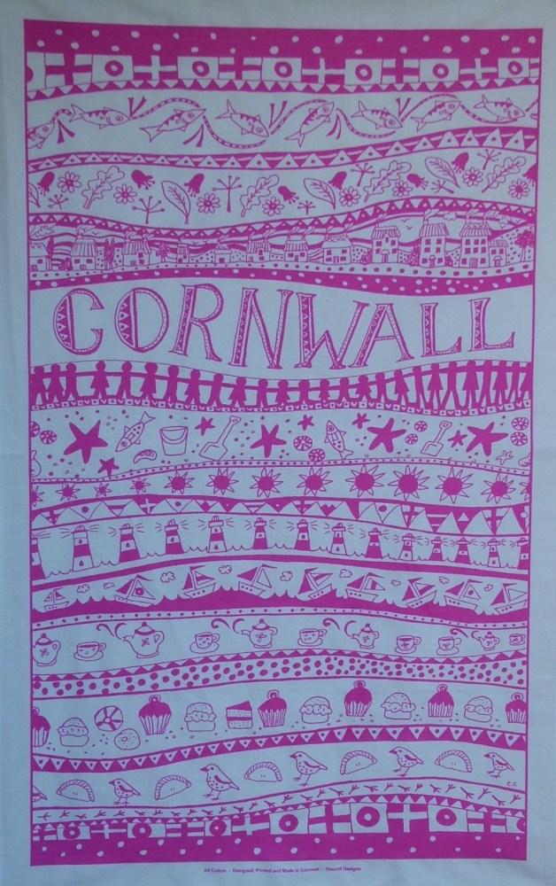 Cornwall Tea Towel - Pink