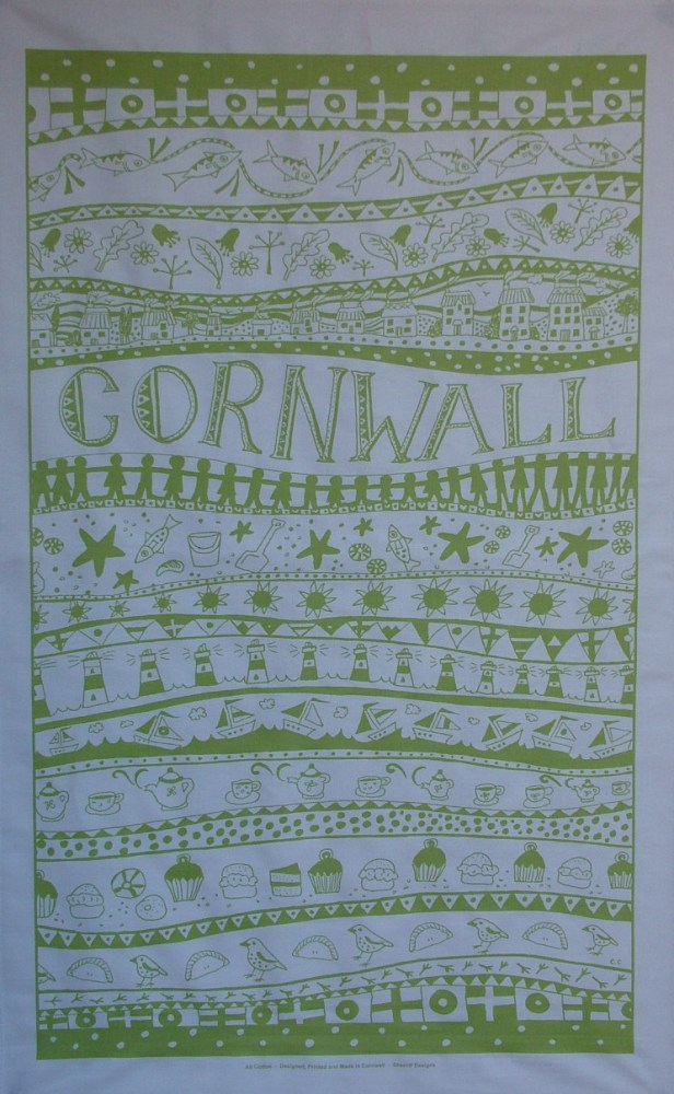 Cornwall Tea Towel - Lime Green