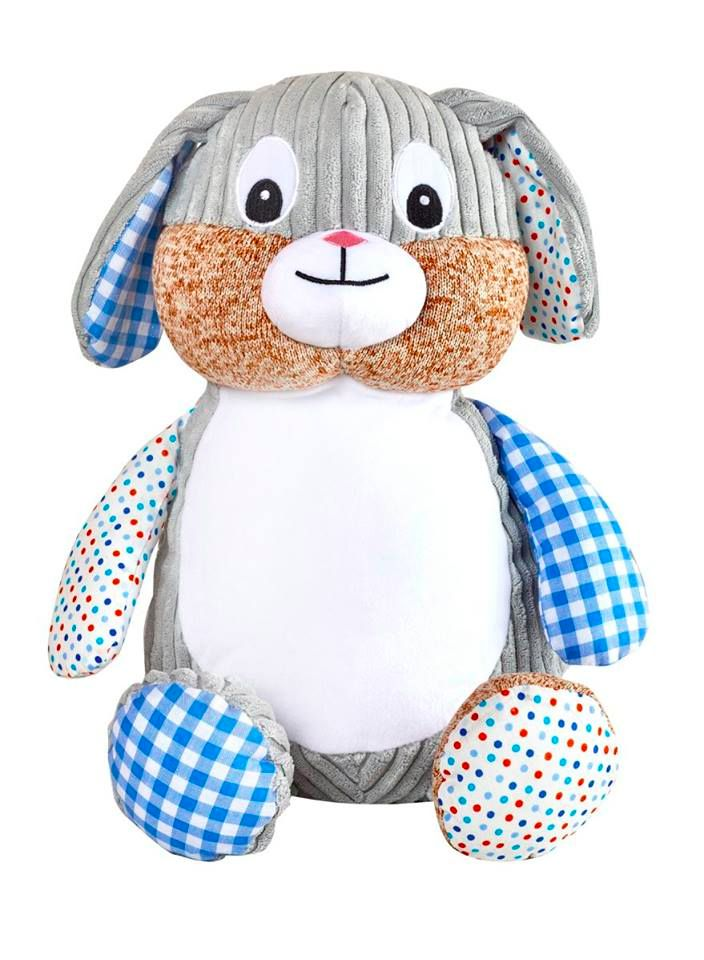 PERSONALISED RETRO BLUE BUNNY SOFT TOY