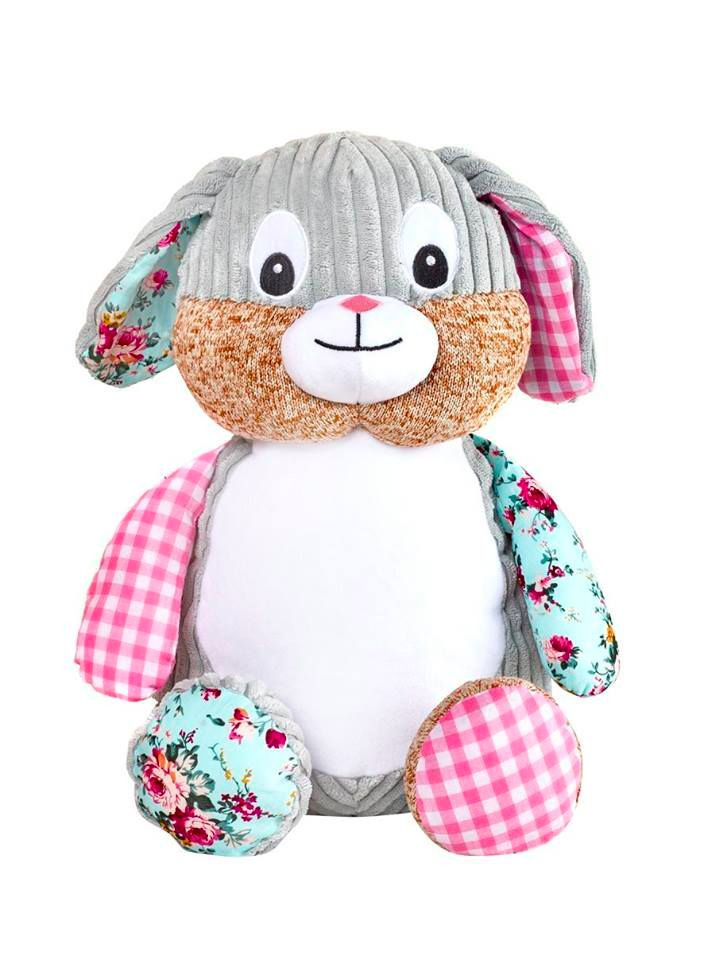 PERSONALISED RETRO PINK BUNNY SOFT TOY