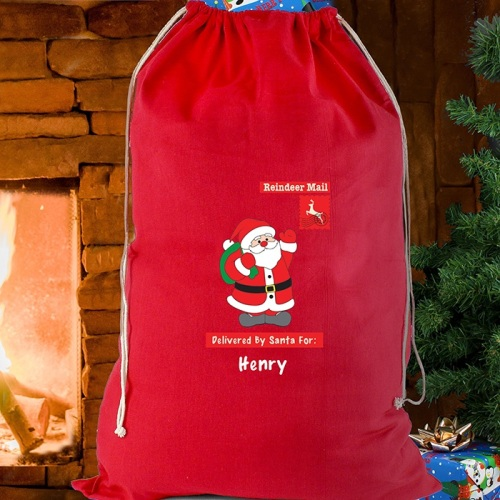 FATHER CHRISTMAS RED COTTON SACK