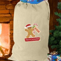 <!-- 00006 -->GINGERBREAD MAN COTTON SACK