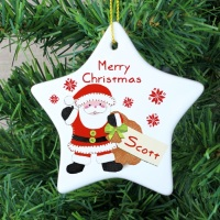 <!-- 00004 -->FELT STITCH SANTA CERAMIC STAR DECORATION