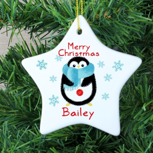 FELT STITCH PENGUIN CERAMIC STAR DECORATION