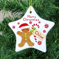 <!-- 00005 -->FELT STITCH GINGERBREAD CERAMIC STAR DECORATION