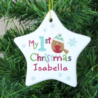 <!-- 00008 -->FELT STITCH ROBIN MY 1ST CHRISTMAS CERAMIC STAR DECORATION