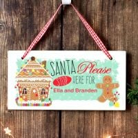 GINGERBREAD HOUSE SANTA STOP HERE WOODEN SIGN