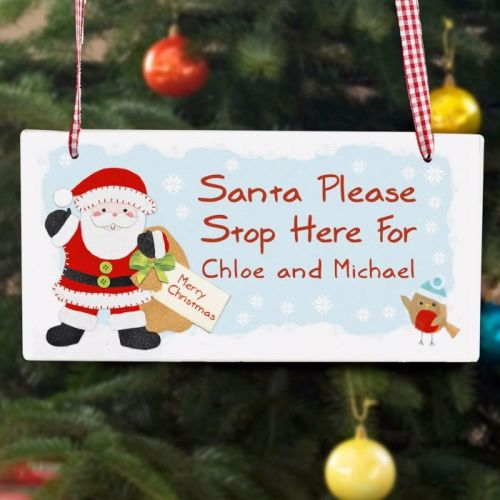 FELT STITCH SANTA STOP HERE WOODEN SIGN DECORATION