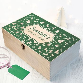 PERSONALISED CHRISTMAS EVE BOX WITH FESTIVE PATTERN - AVAILABLE IN OTHER COLOURS & SIZES
