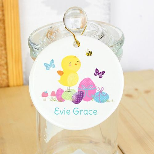 Personalised Easter Meadow Chick Round Ceramic Decoration