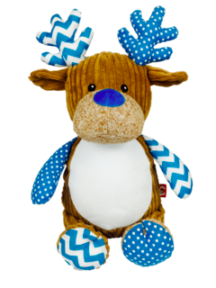 PERSONALISED RETRO REINDEER - BLUE - PRE ORDER NOW FOR DECEMBER DESPATCH