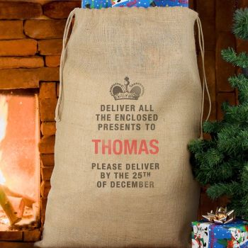 DELIVER PRESENTS TO ... HESSIAN SACK