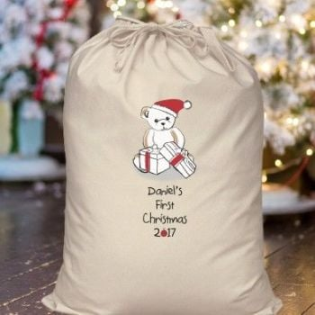 BEAR MY FIRST CHRISTMAS COTTON SACK