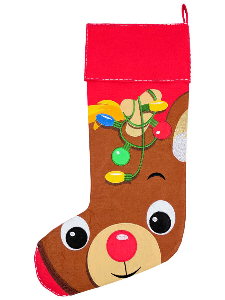 BROWN REINDEER STOCKING - PRE ORDER NOW FOR DECEMBER DISPATCH