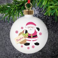 <!-- 00001 -->Personalised Felt Stitch Santa Bauble