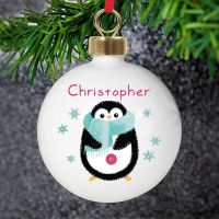 <!-- 00002 -->Personalised Felt Stitch Penguin Bauble