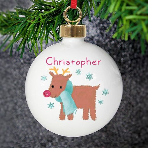 <!-- 00003 -->Personalised Felt Stitch Reindeer Bauble